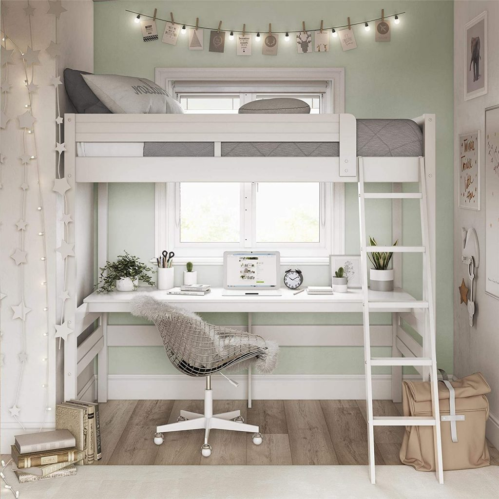 twin loft bed with desk