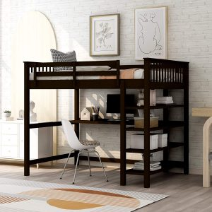 Wooden Bunk Bed With Desk